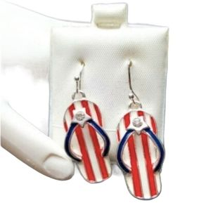 July 4th Earrings Silver Red White Blue July 4th